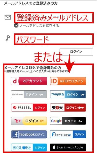 music.jpのログイン画面