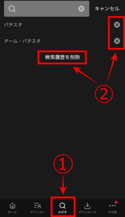 dTV app 検索履歴