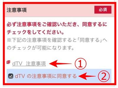 dTV Safari 『dTVの注意事項に同意する』にチェック